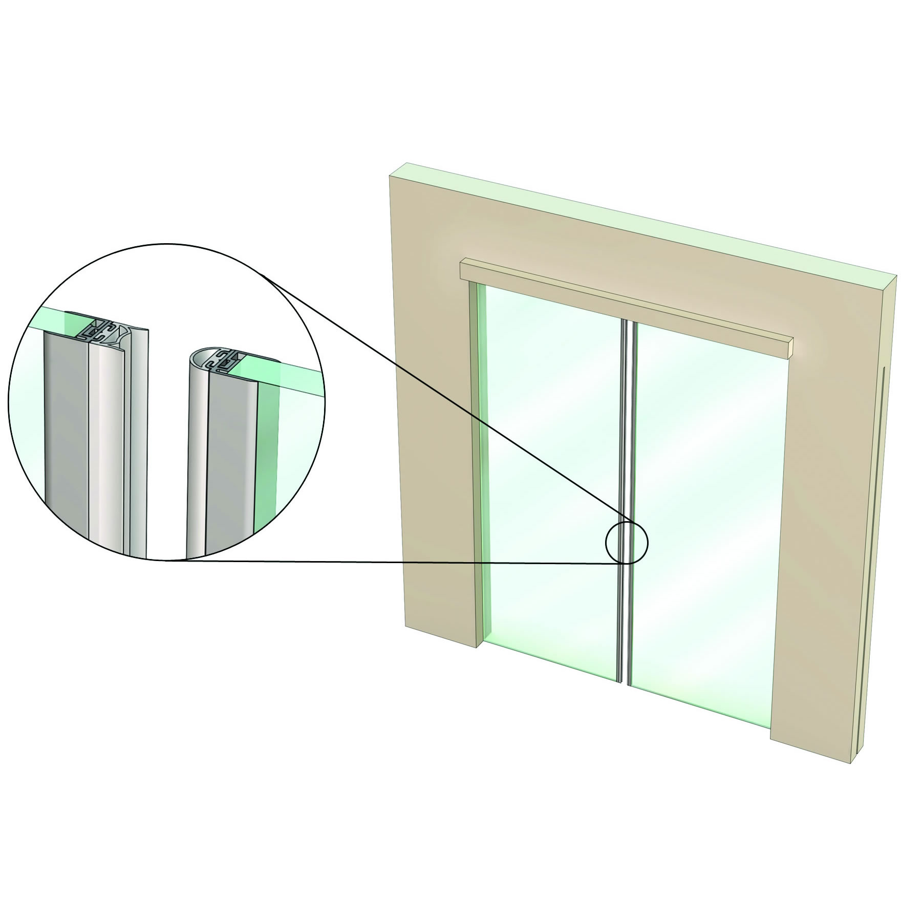 Is7300si For Non Rated Double Leaf Frameless Glass Doors