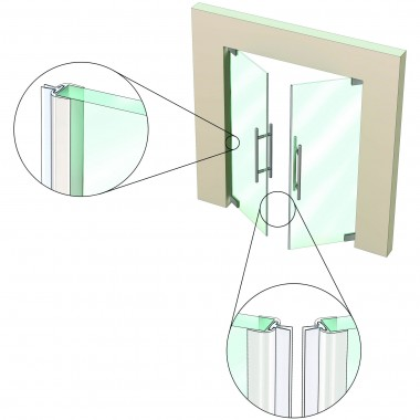 Is7355si For Non Rated Double Leaf Frameless Glass Pivot
